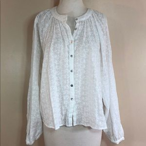 NWT Free People Floral Embrodiered Blouse